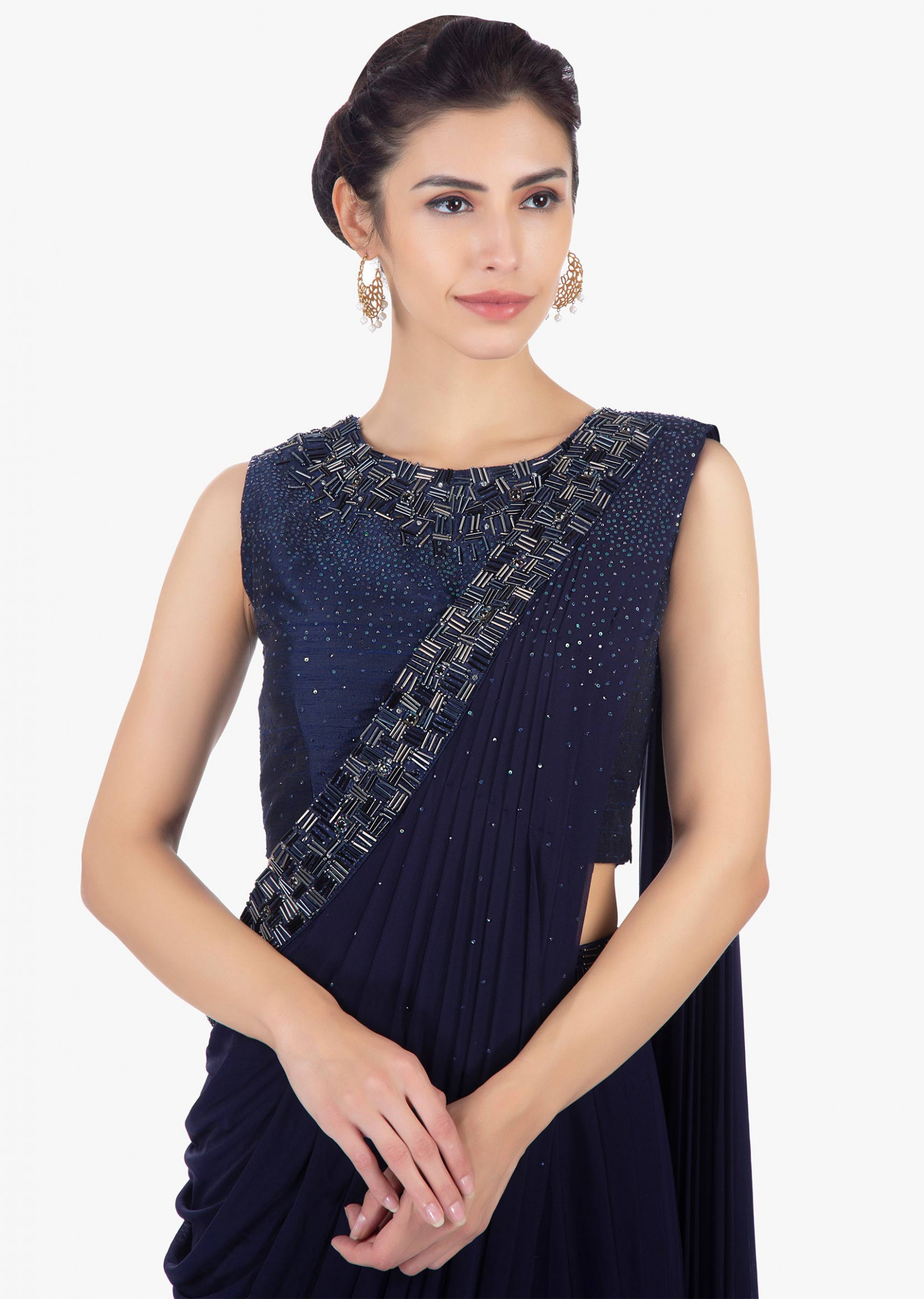 Buy Twilight Blue Ready Plated Saree Skirt In Lycra Paired