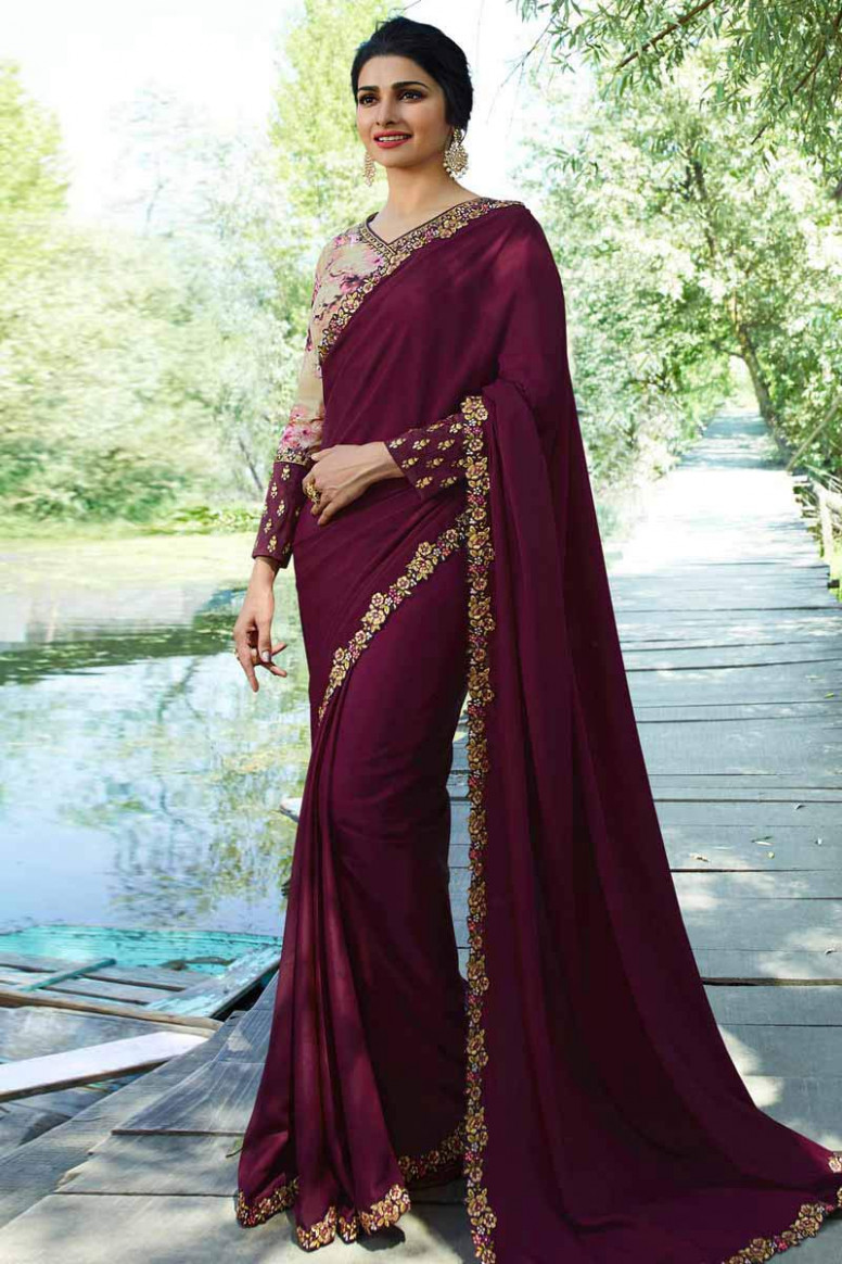 Buy Tyrian Purple Color Silk Saree With Silk Blouse Online