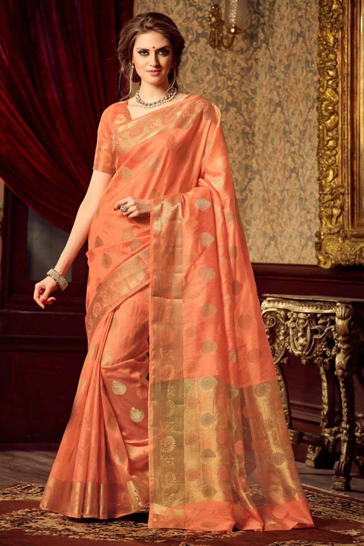 Buy Uppada Silk Traditional Peach Color Saree With Fancy