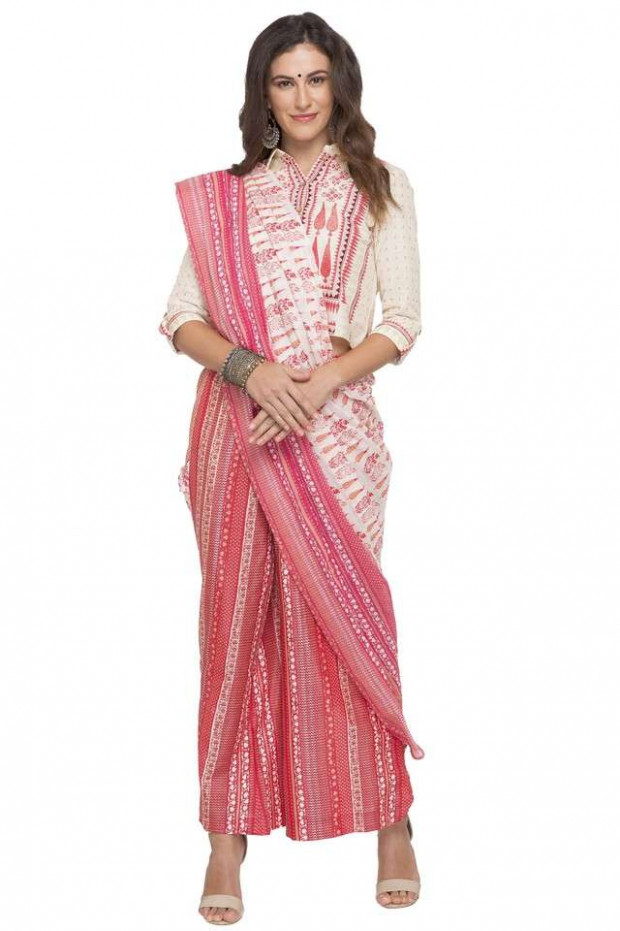 Buy W Womens Printed Palazzo Saree  Shoppers Stop