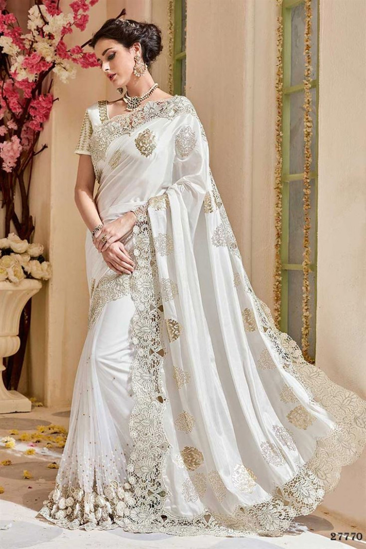 Buy Wedding Function Wear Off White Color Silk Fabric