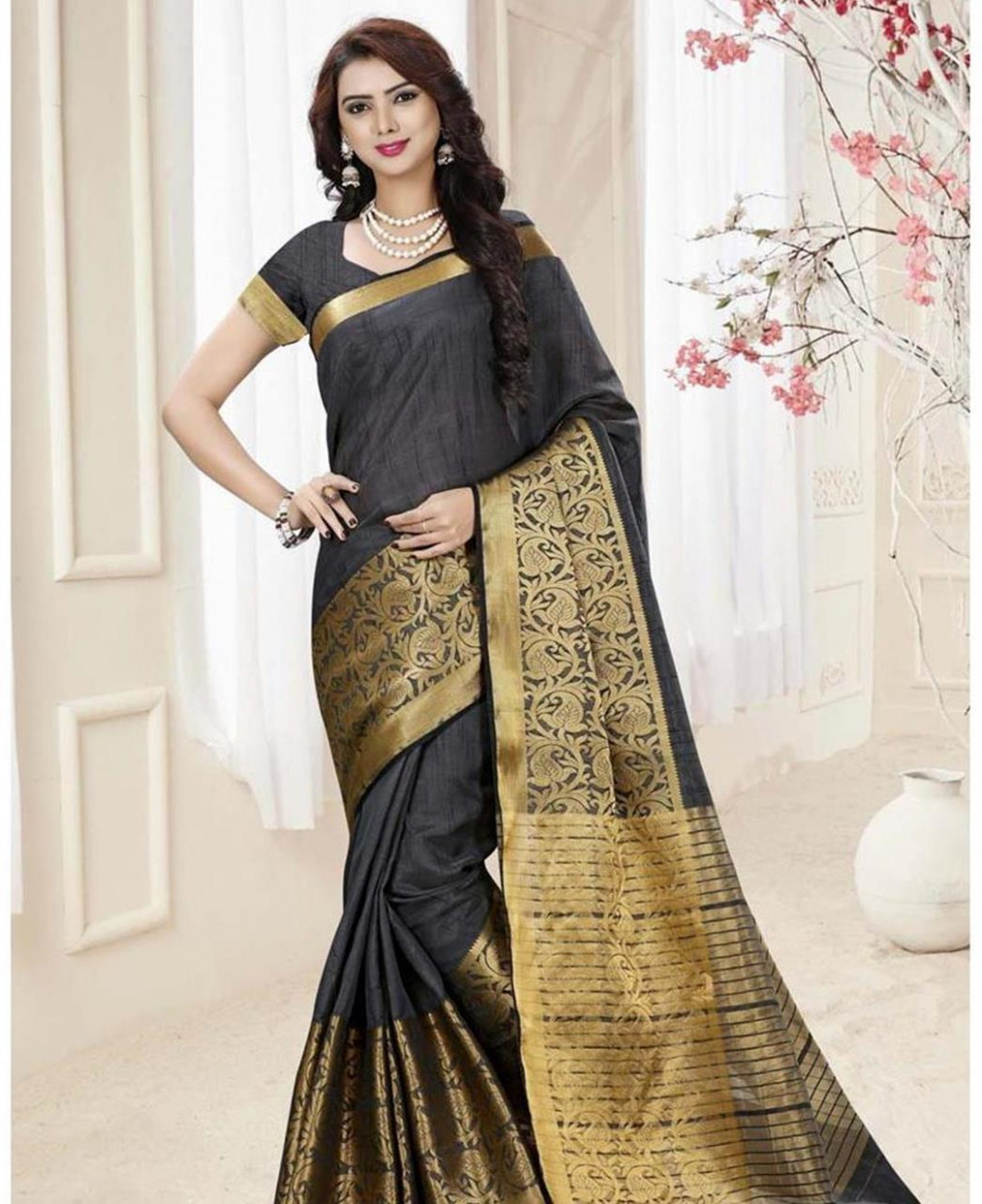 Buy Well Formed Black Silk Saree [107285] at ₹ 1,338.87
