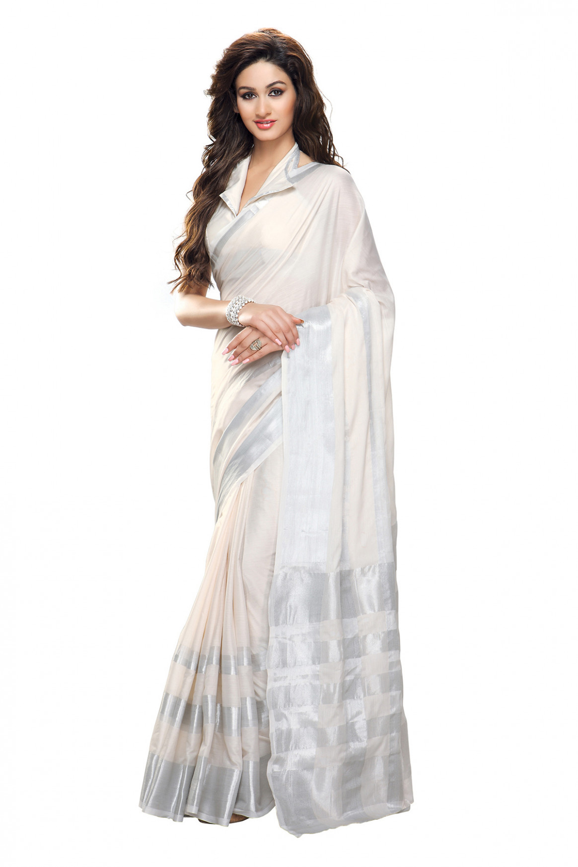 Buy White and Silver plain cotton saree with blouse Online