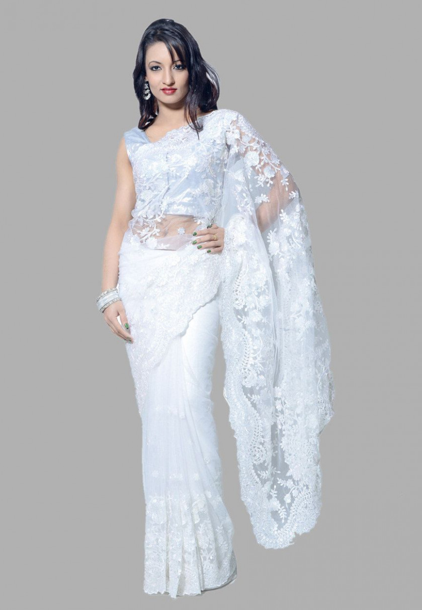 Buy White Net Saree with Blouse online, work: Embroidered