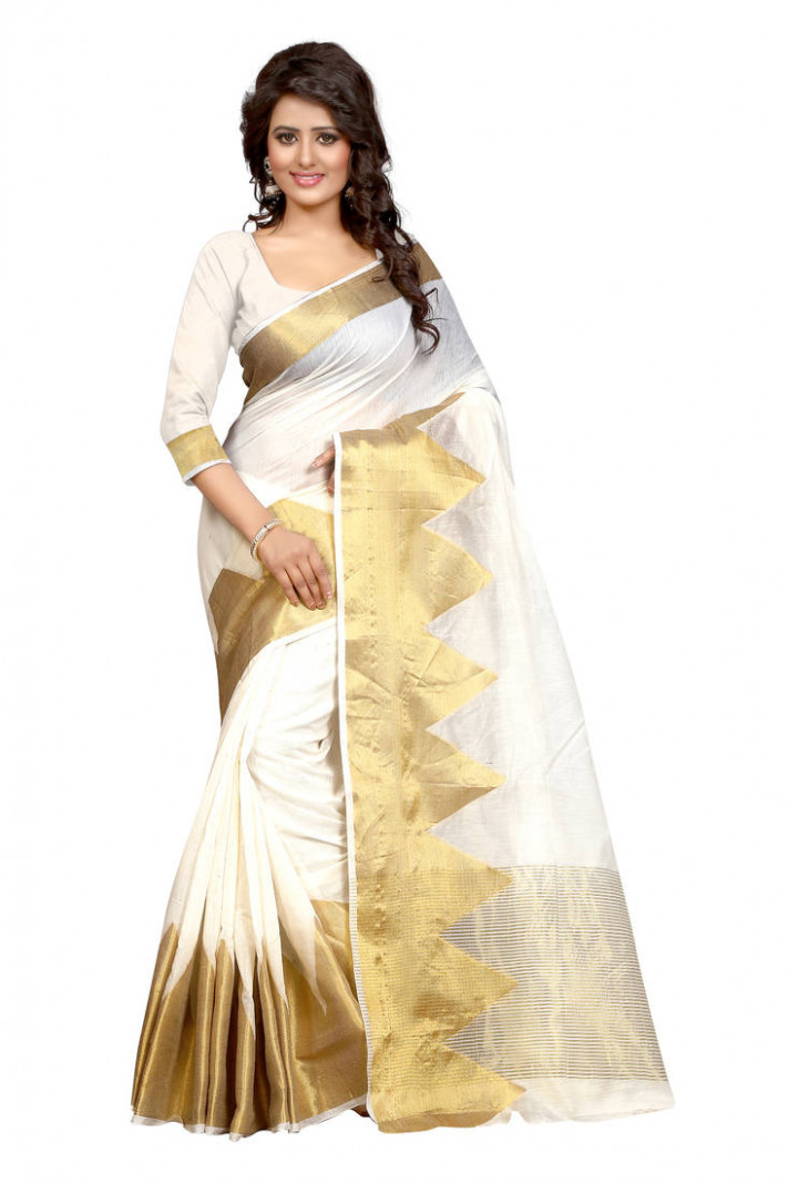 Buy White printed cotton poly saree With Blouse Online