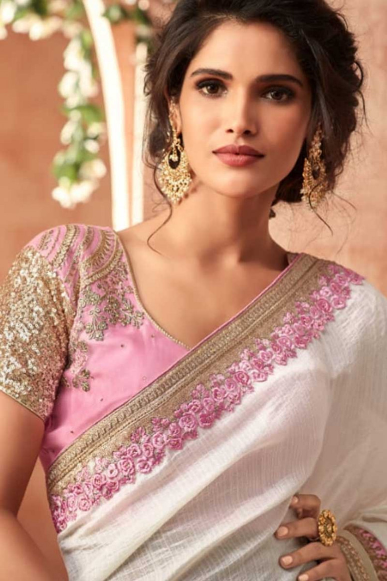 Buy White Saree With Fancy Fabric Blouse Online - SARV0436