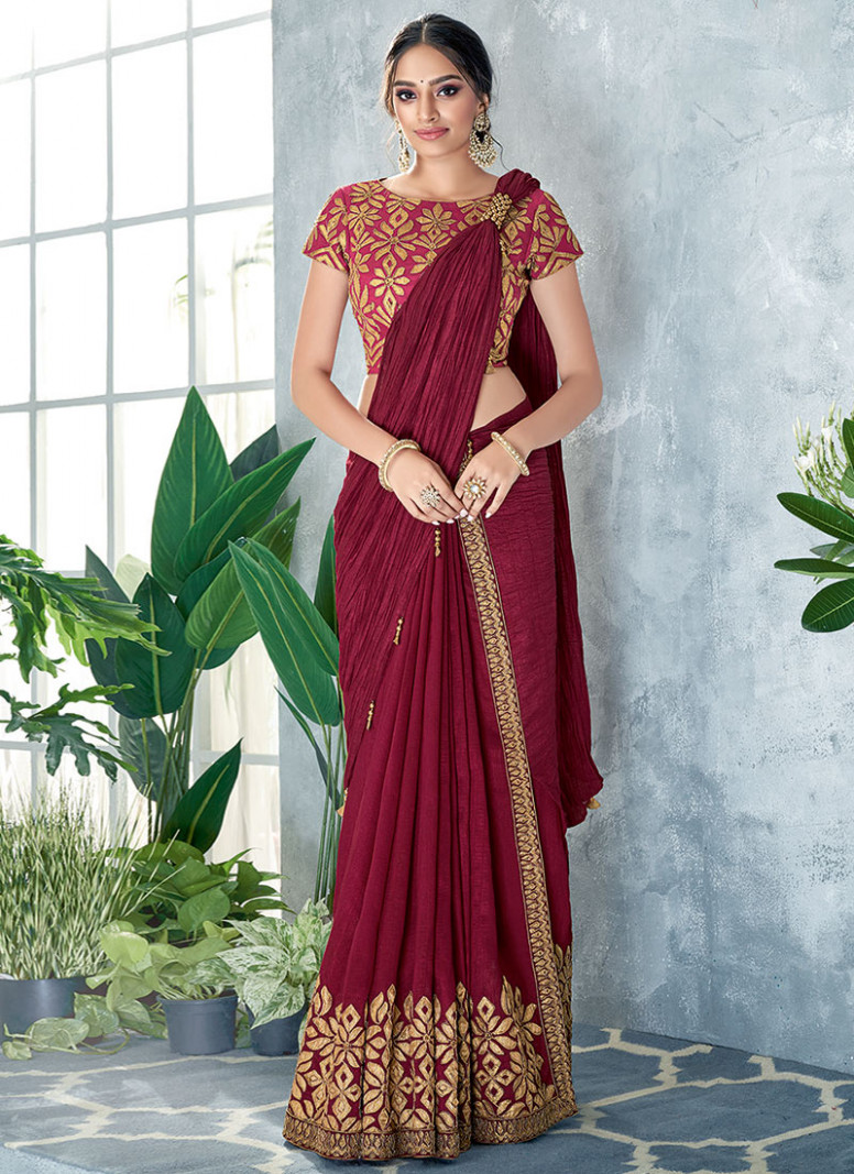 Buy Wine Embroidered Ready Pleated Saree, Embroidered