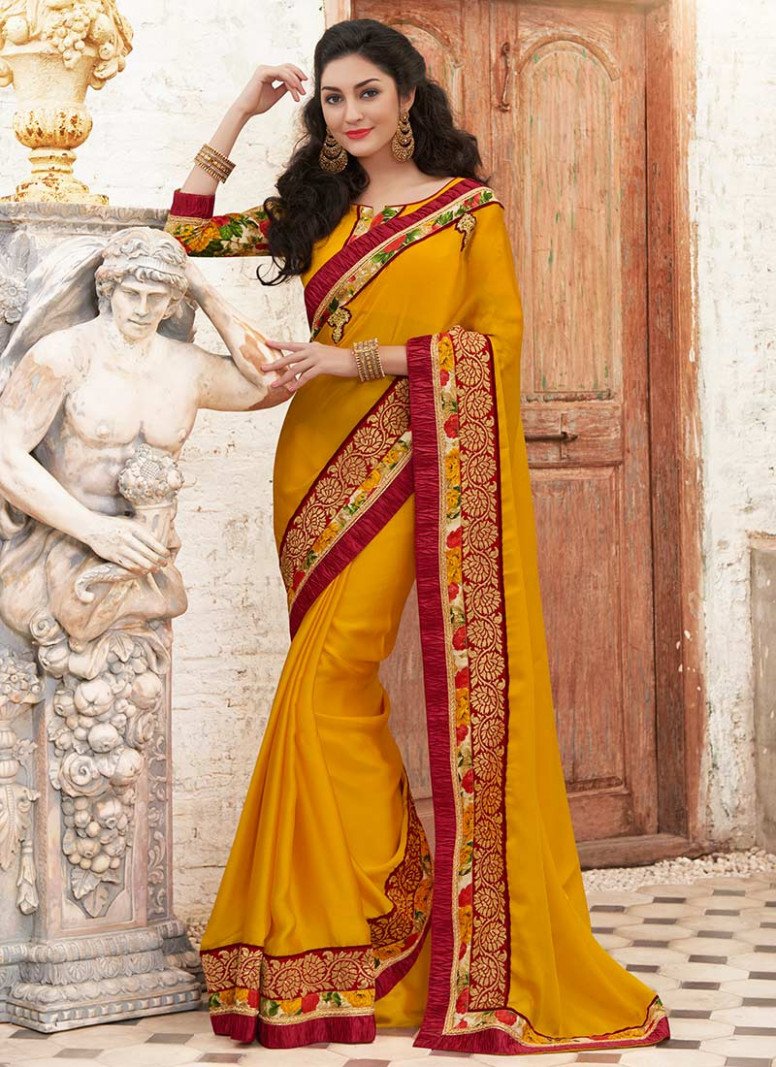 Buy Yellow Border Saree, Sequins , Zari , Printed, sari