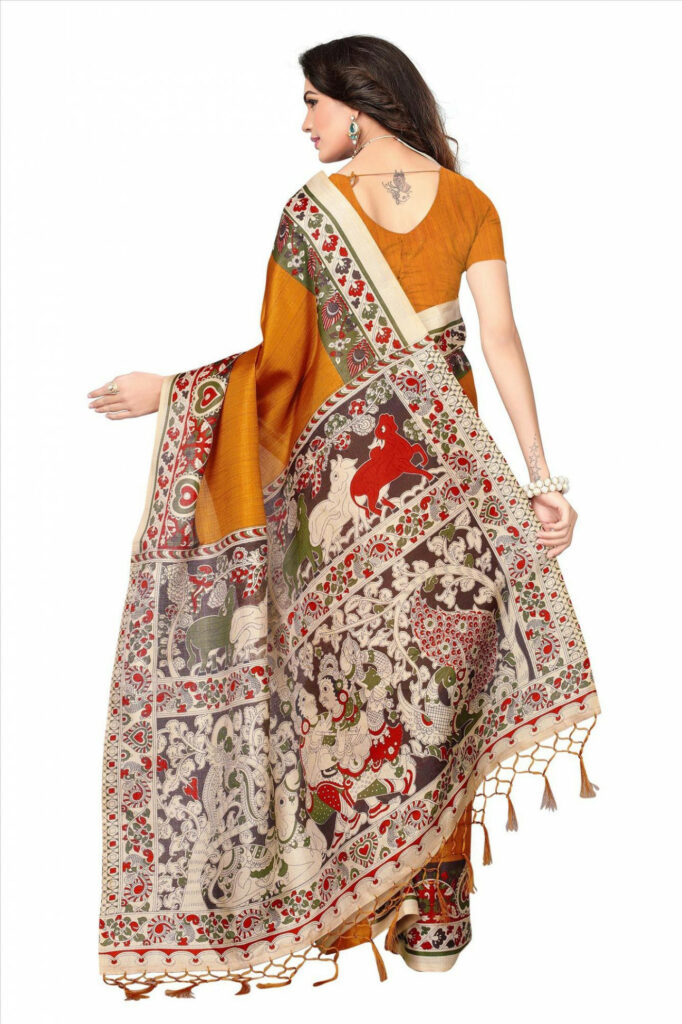 Buy Yellow Casual Printed Khadi Silk Saree With Tassels
