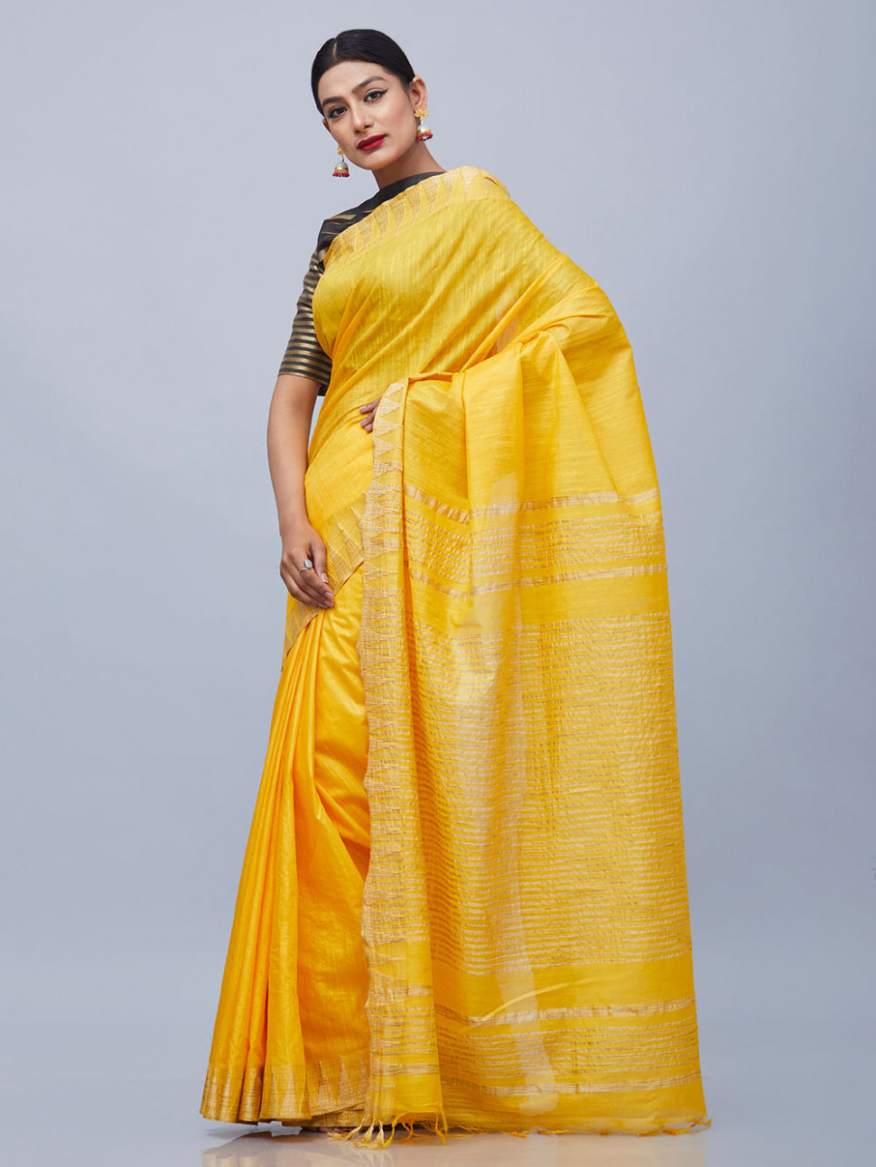 Buy Yellow Cotton Silk Saree online at Theloom
