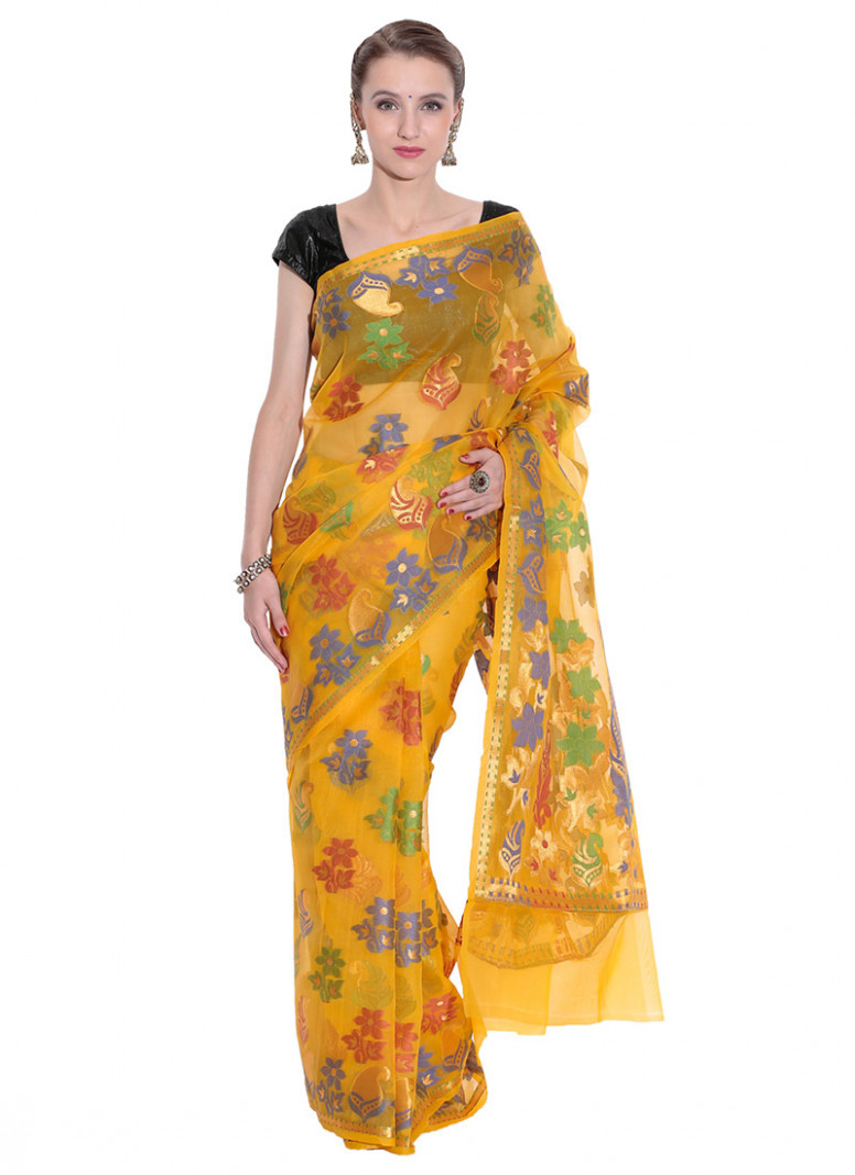 Buy Yellow Organza Saree, sari Online Shopping