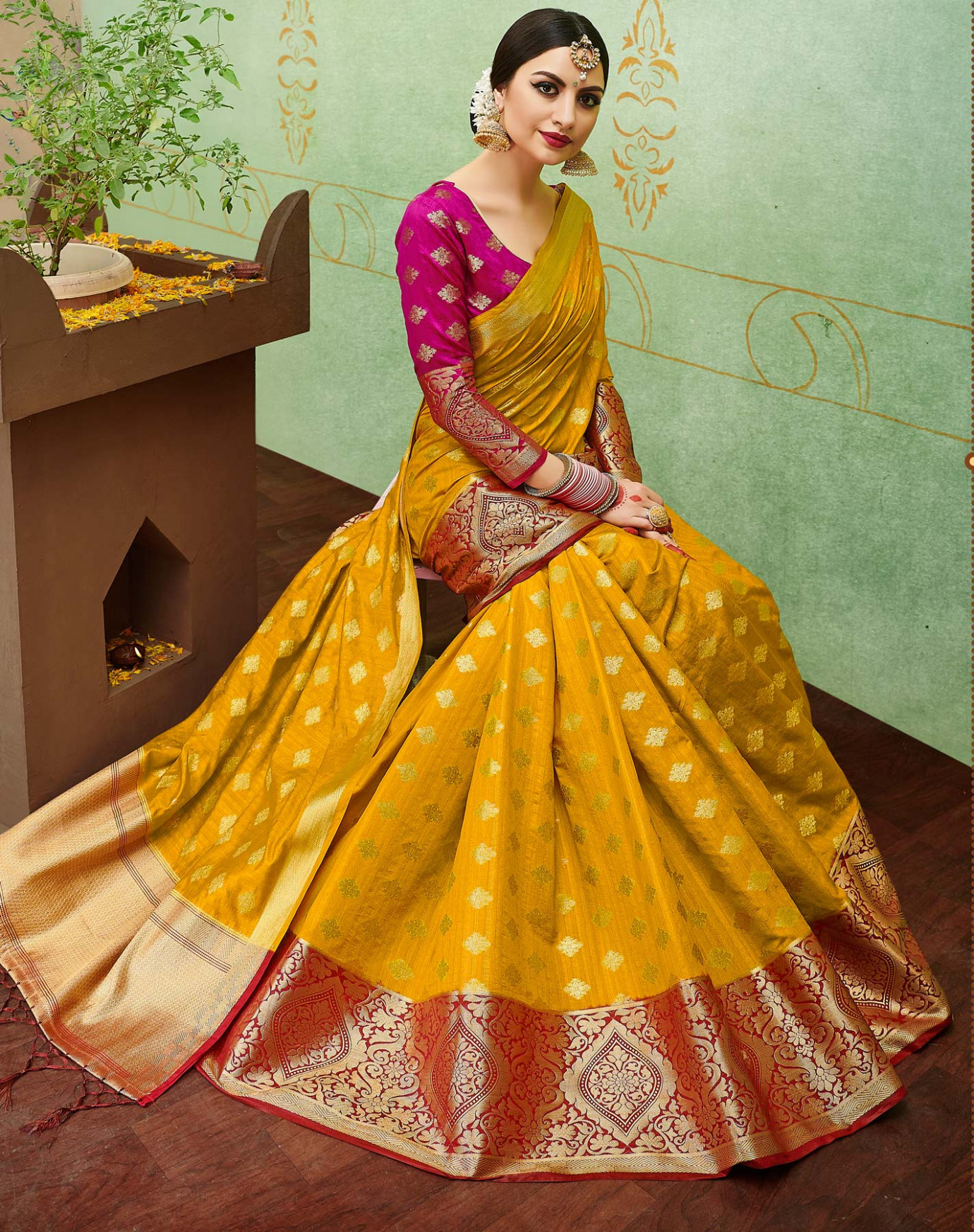Buy Yellow-Pink Colored Designer Festive Wear Banarasi