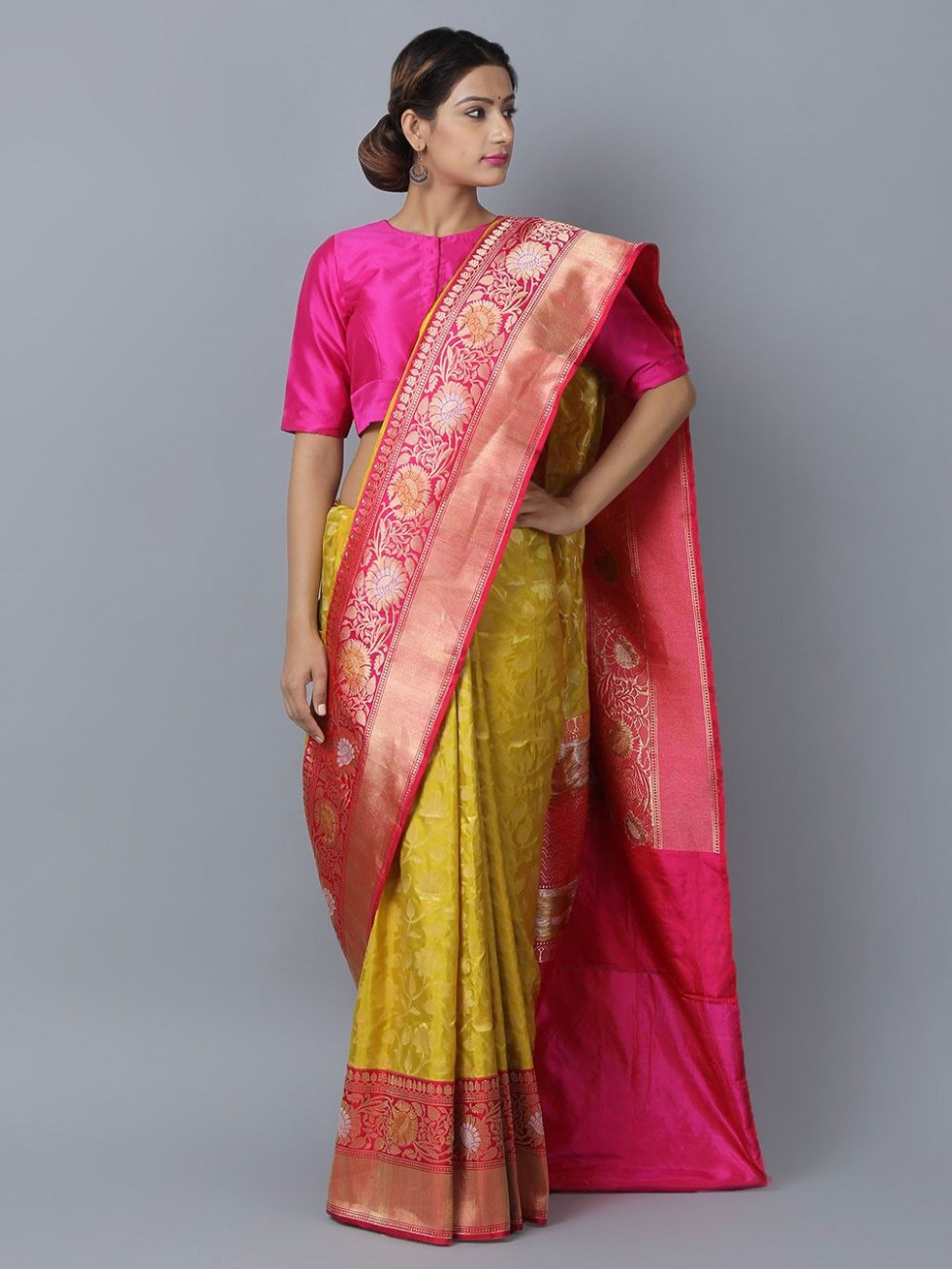 Buy Yellow Pink Silk Handwoven Banarasi Saree online at
