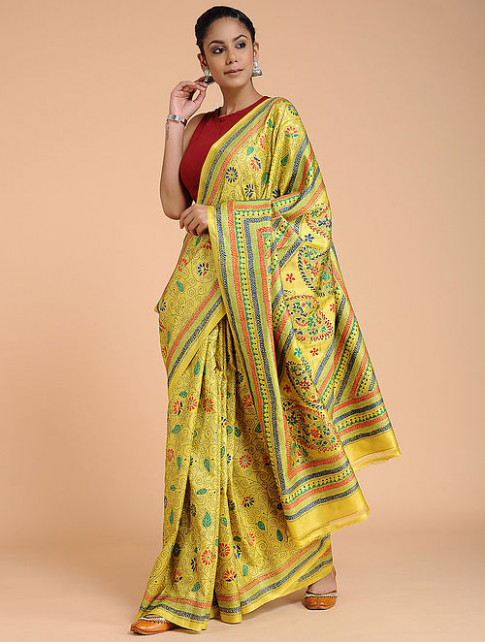 Buy Yellow-Red Kantha-embroidered Tussar Silk Saree Online