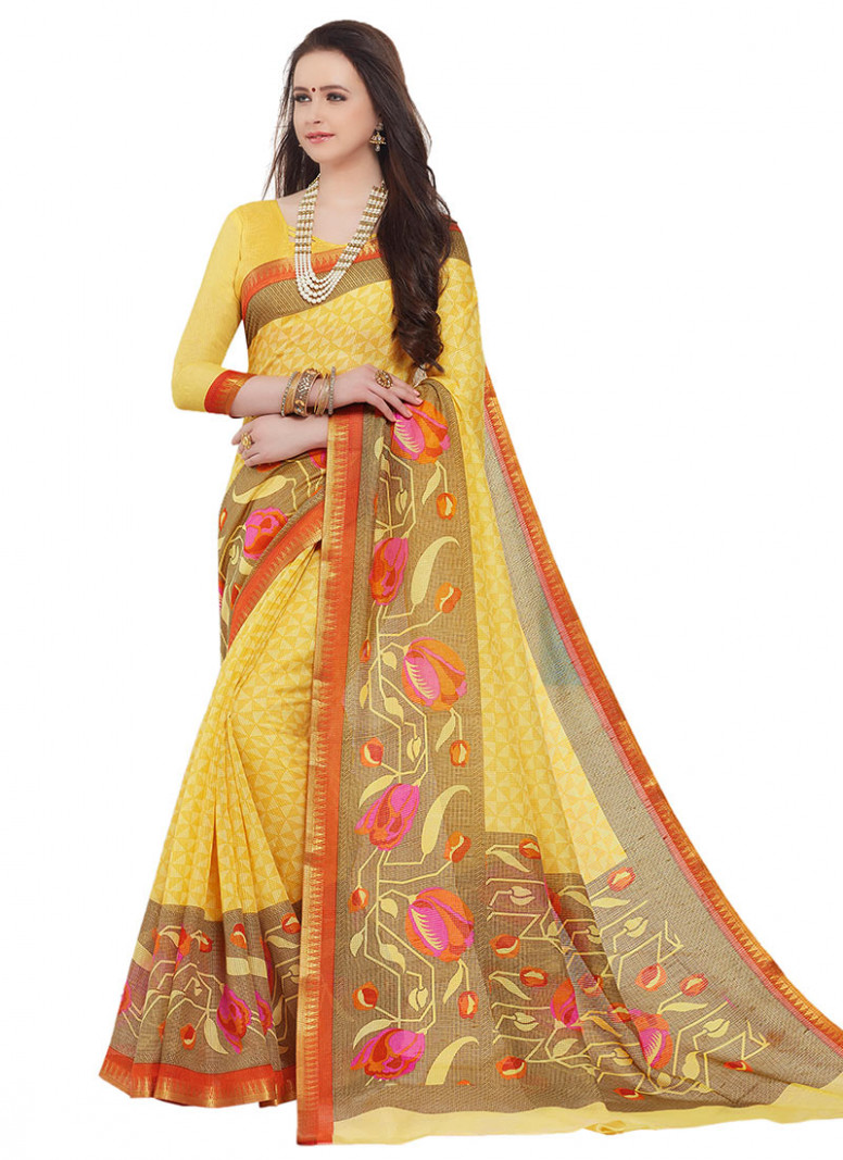 Buy Yellow Sambalpuri Silk Saree, sari Online Shopping