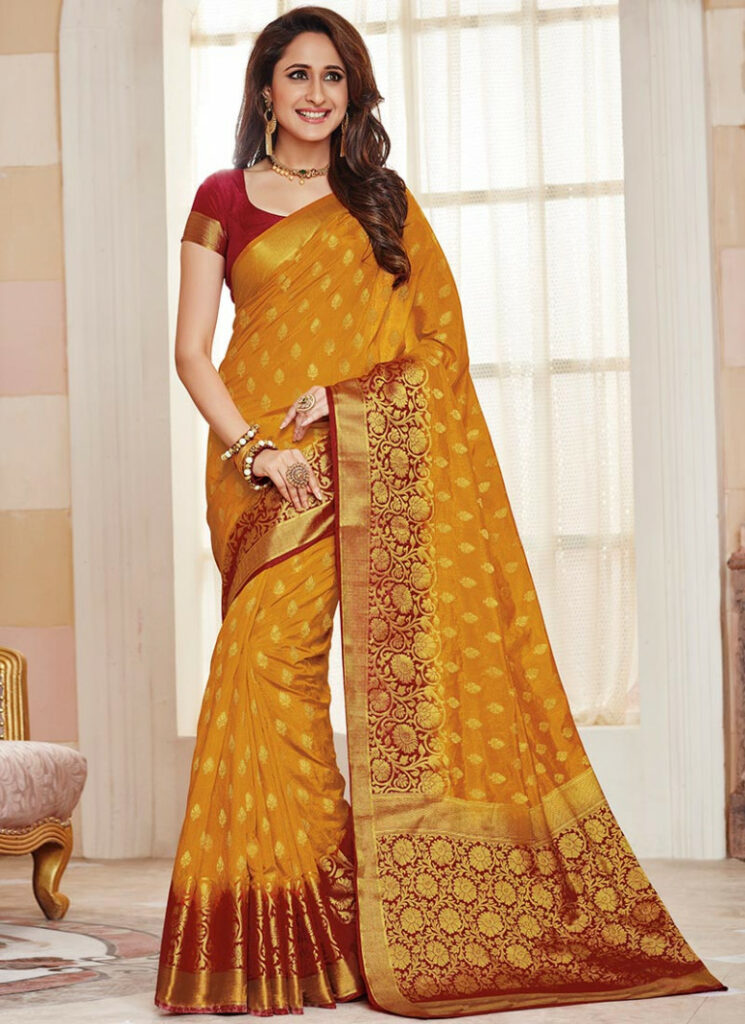 Buy Yellow Tussar Silk Saree, sari Online Shopping