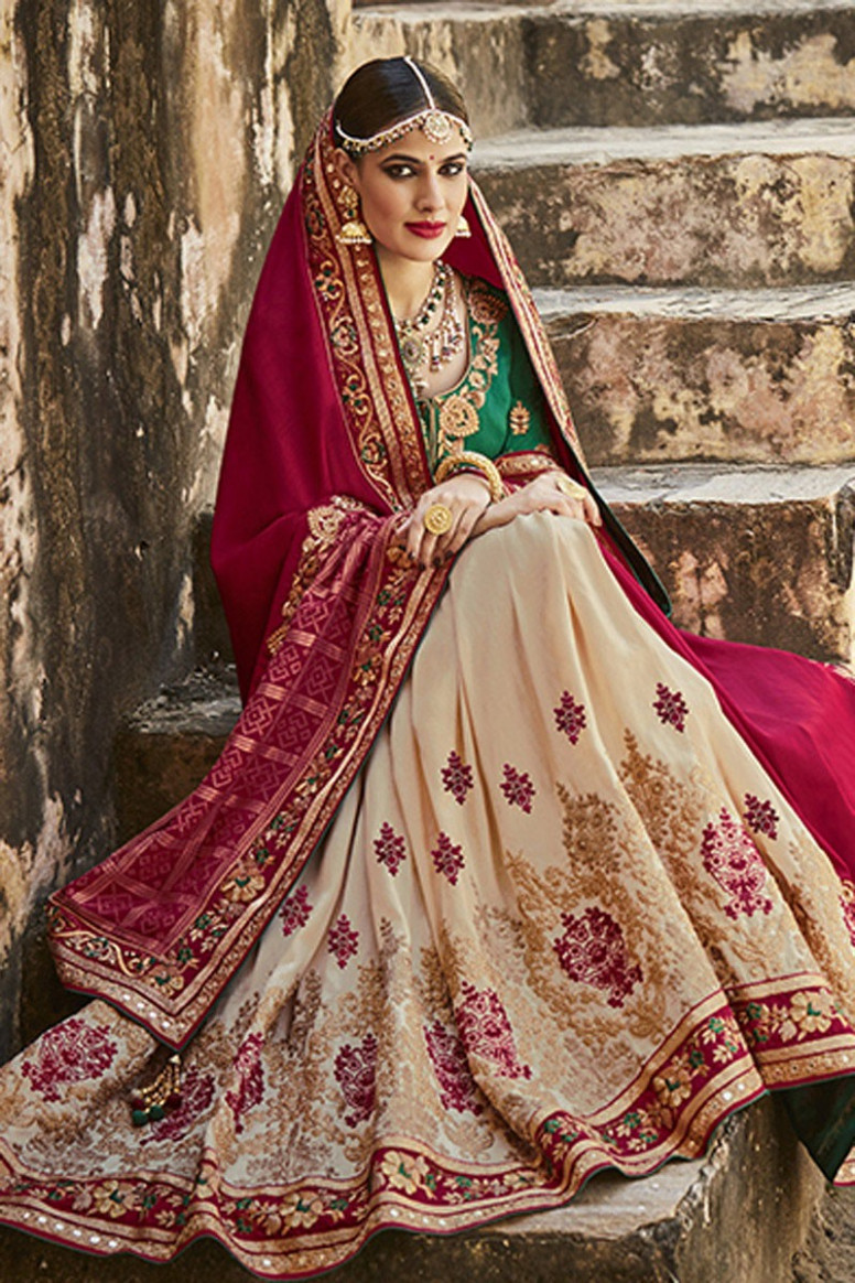 BuyBeige and maroon panetar Indian wedding wear saree in