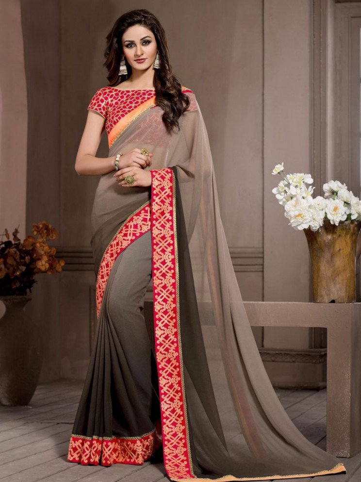 Casual Sarees for Work Wear - Cotton, Crepe, Georgette