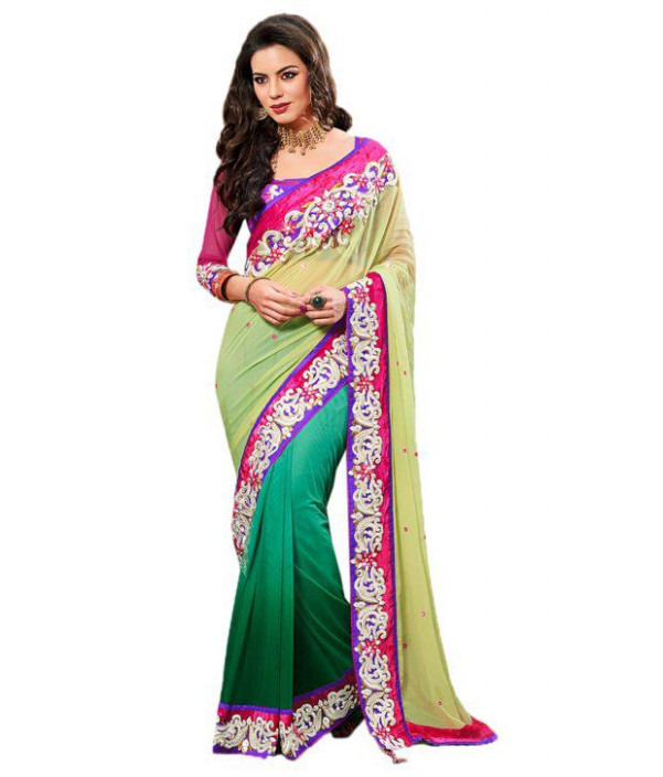Cbazaar Green Faux Georgette Saree - Buy Cbazaar Green