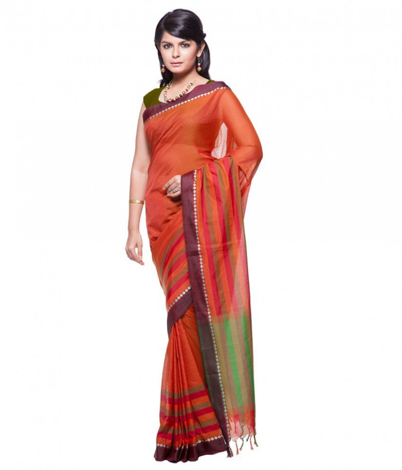 Cbazaar Orange Cotton Ombre Saree - Buy Cbazaar Orange
