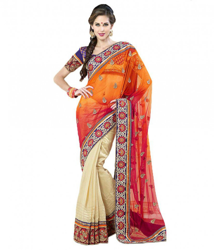 Cbazaar Orange Cotton Saree - Buy Cbazaar Orange Cotton