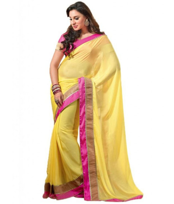 Cbazaar Yellow Faux Georgette Saree - Buy Cbazaar Yellow