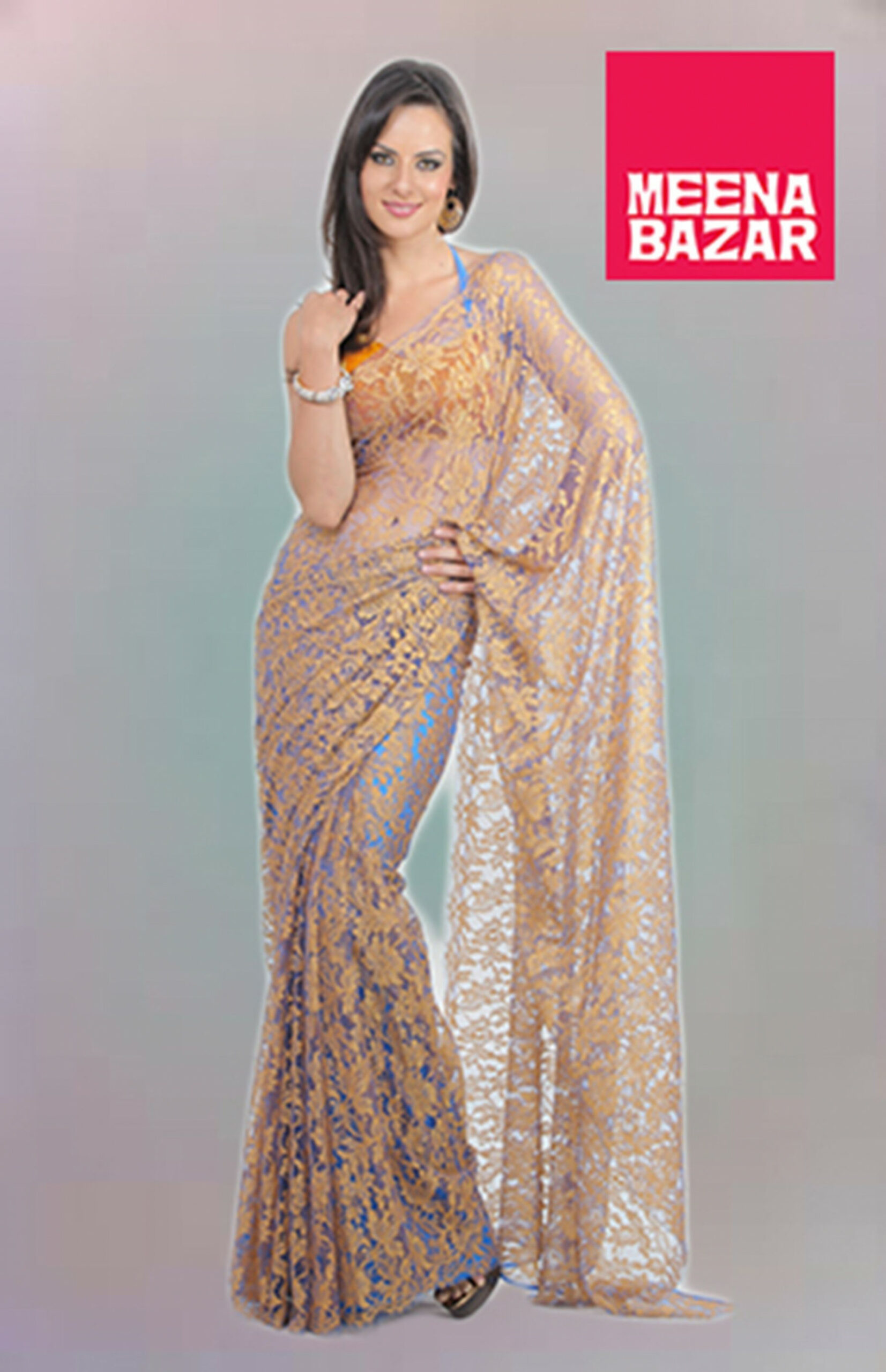 CHANTILLY lace saree , wear different color slip and