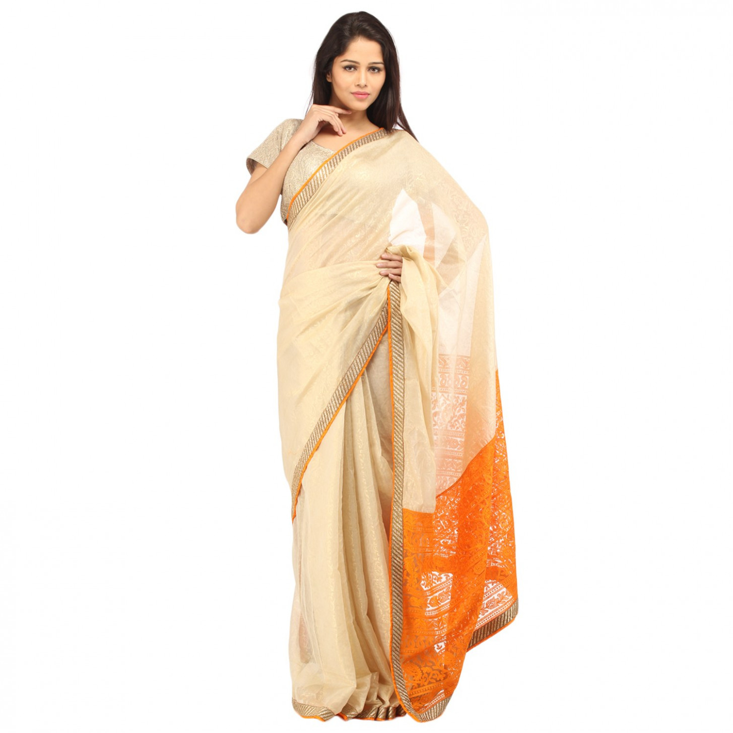 CHARMING Beige Lakhnavi Embroidered Saree-Online Shopping-4