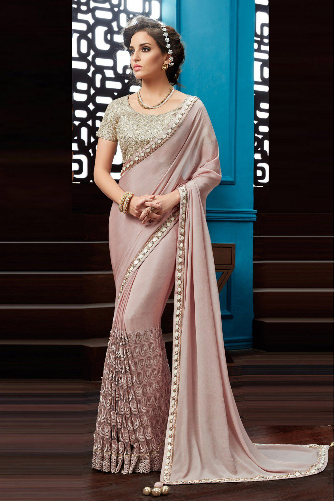 Chiffon Party Wear Saree In Pink Colour in 2019  Saree