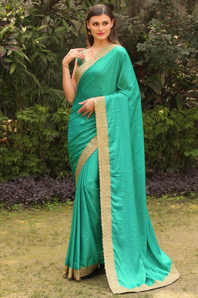 Classy Dark Green Saree with Work Border