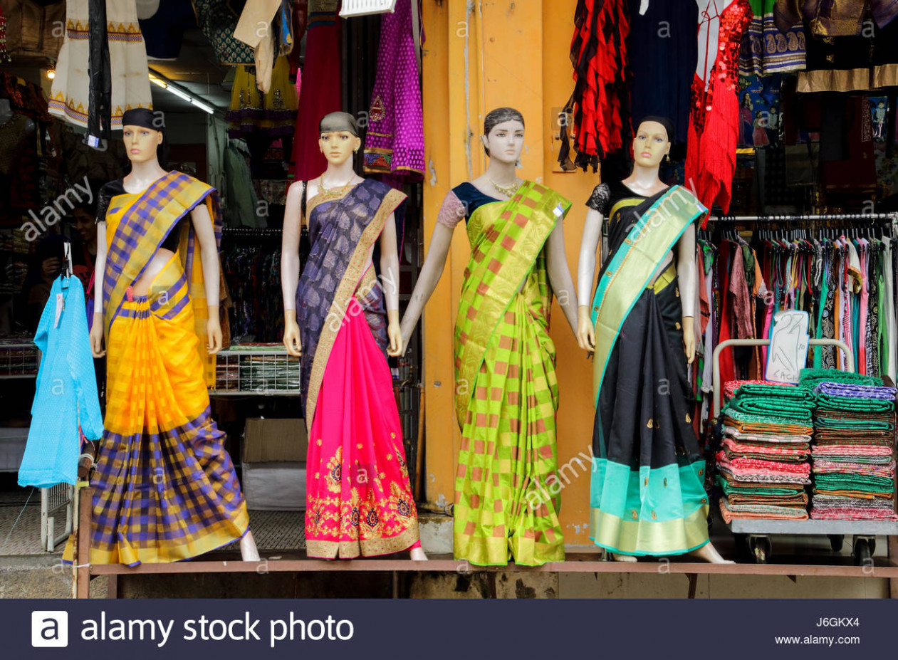 colourful saree textile cloth shop in the streets of