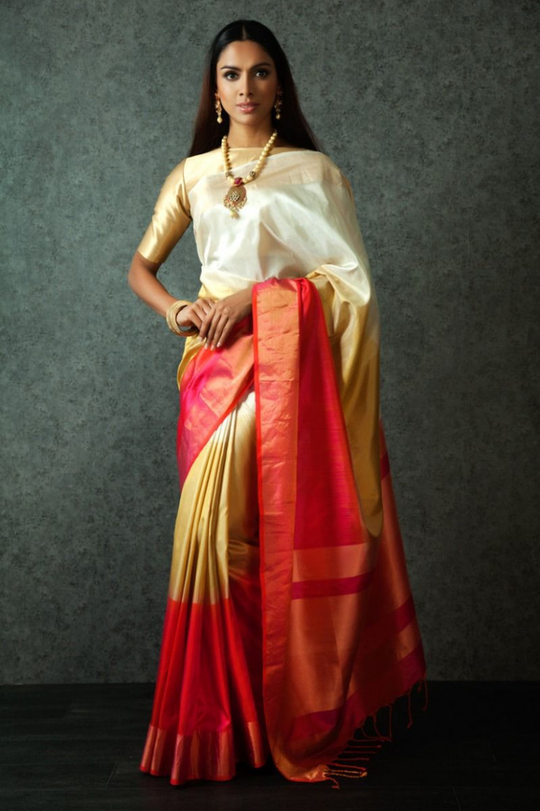 Cream & Red Handloom Saree