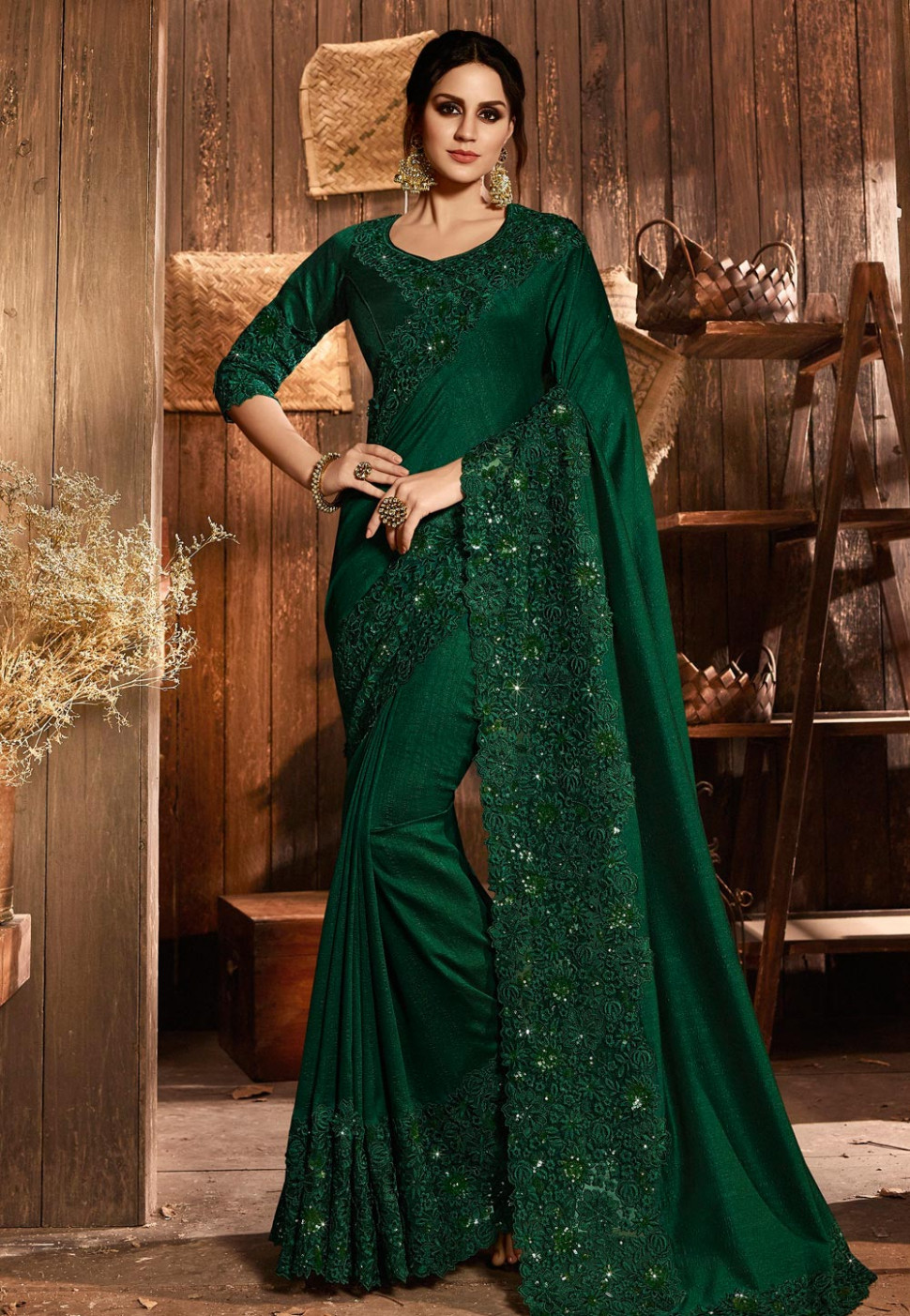 Dark Green Silk Saree With Blouse 168069
