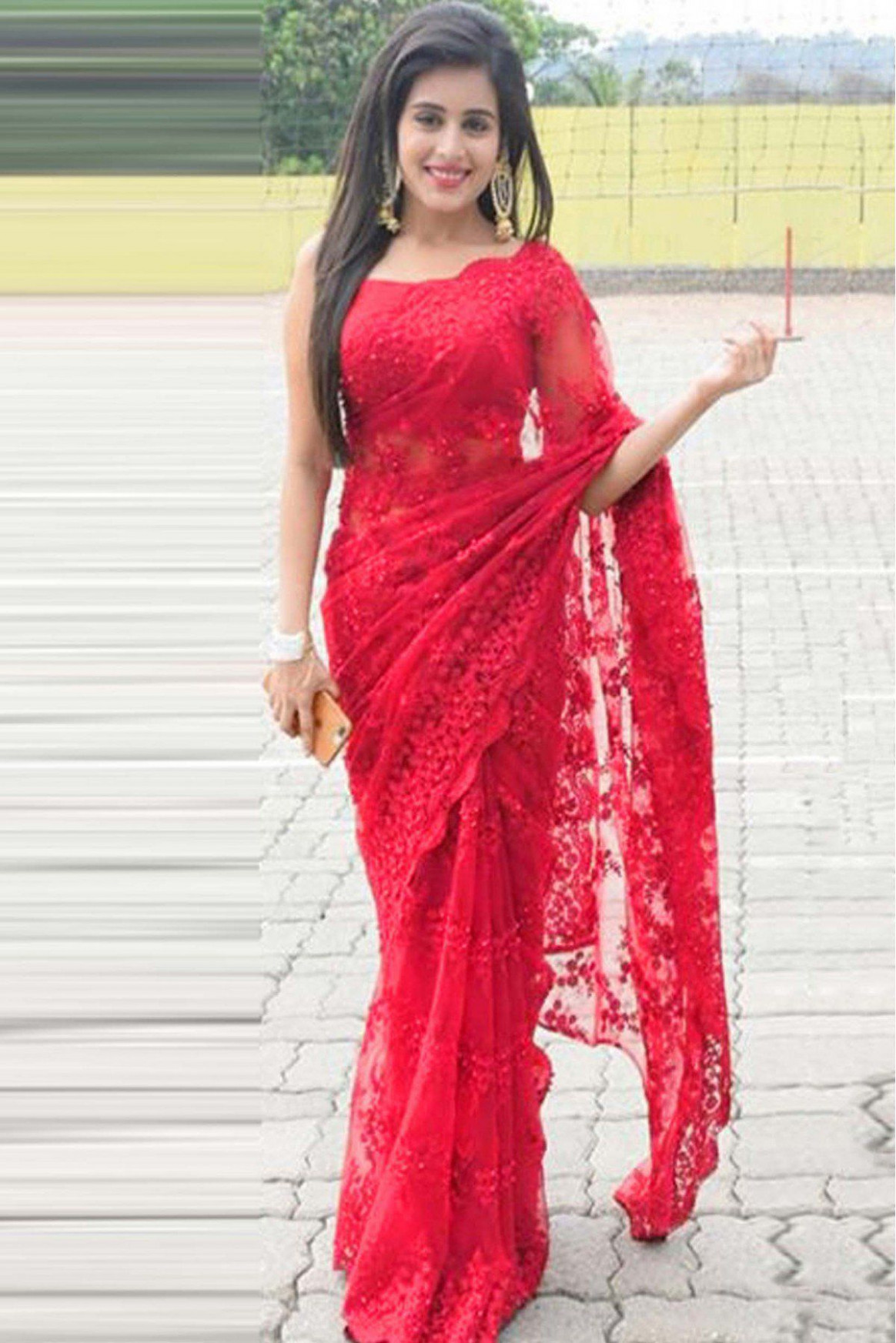 Darshita International Red Net Saree - Buy Darshita