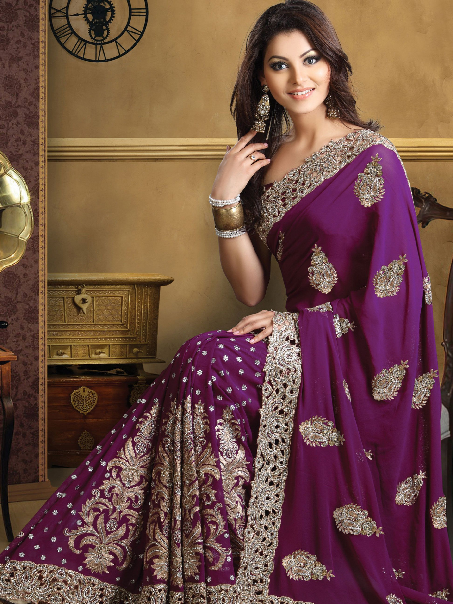Deep Purple Pure Georgette #Saree With #Blouse @ $529.99