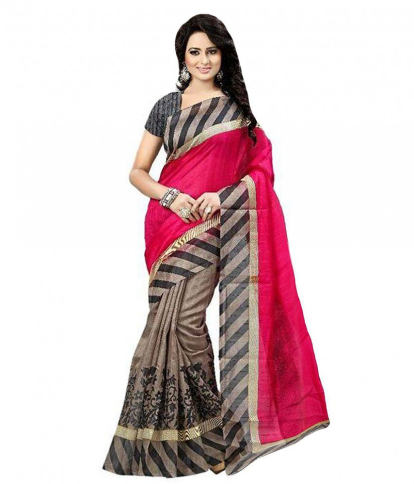 Deepak Pink Cotton Saree - Buy Deepak Pink Cotton Saree