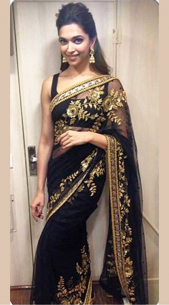 Deepika Padukone In Black Saree Golden Work SEALTO10K