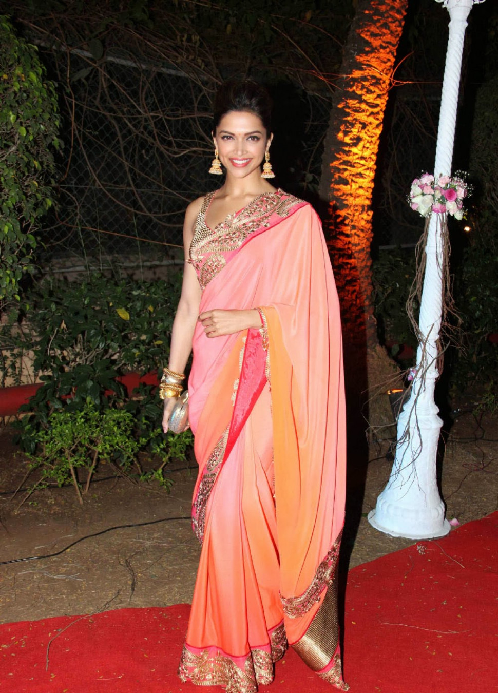 Deepika Padukone in pink saree At Ahana Deol's Wedding