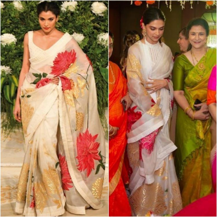 Deepika Padukone wears a beautiful Rohit Bal saree for a