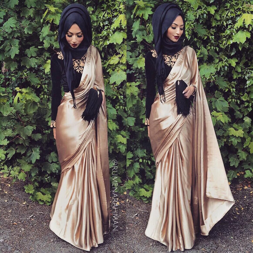 Desi hijabi  Muslim prom dress, Saree with hijab, Satin saree
