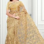 Designer Beige Color Bridal Wear Net Saree With Attractive