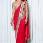 Designer indian saree, Red silk indian sari, asymmetrical neck