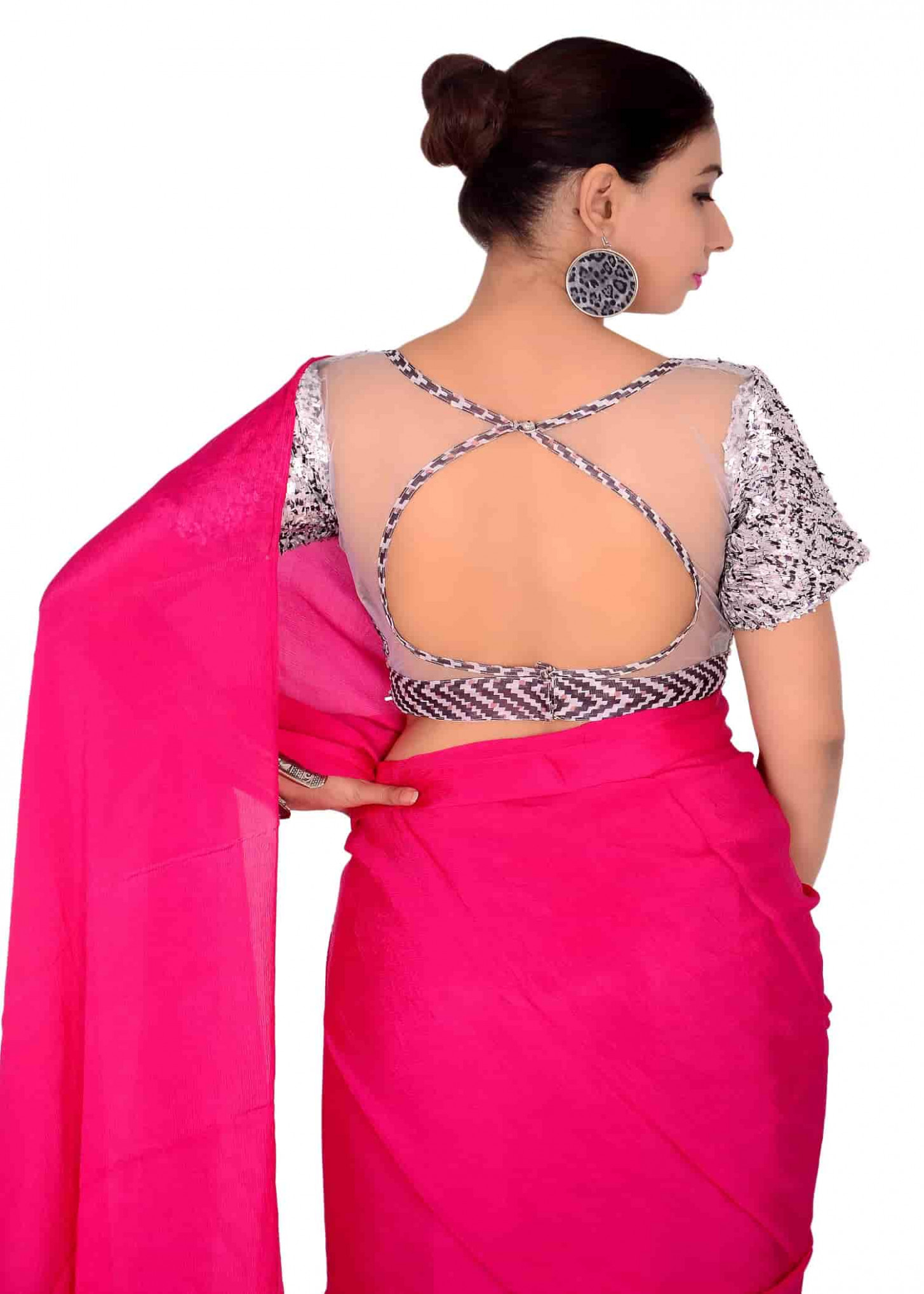 designer saree blouses online shopping for chinon chiffon