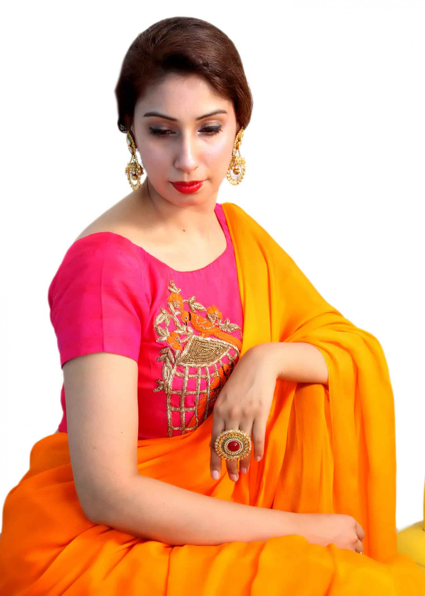 Designer saree blouses online shopping for orange chinon