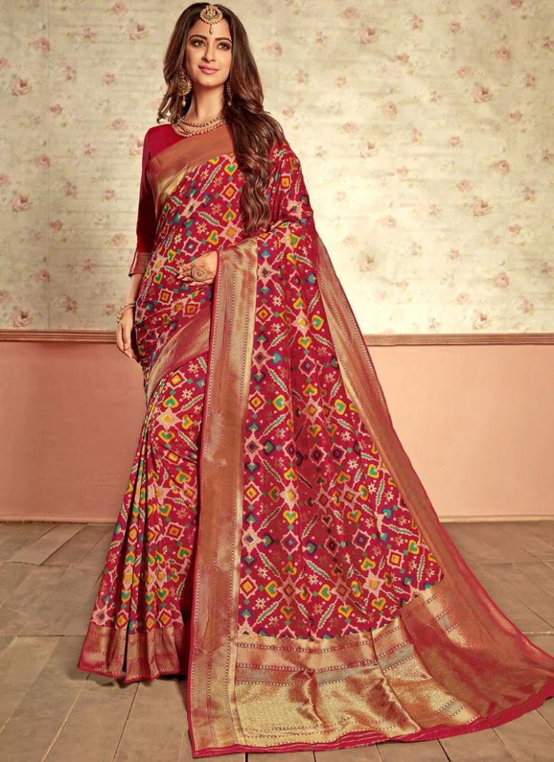 Designer Traditional Saree Weaving Patola Silk in Multi