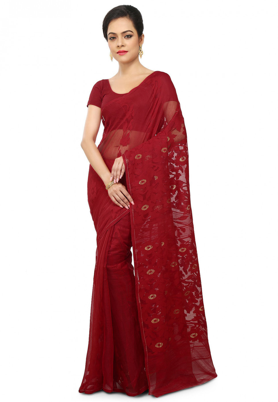 Dhakai Jamdani Cotton Silk Saree in Maroon : SHXA180