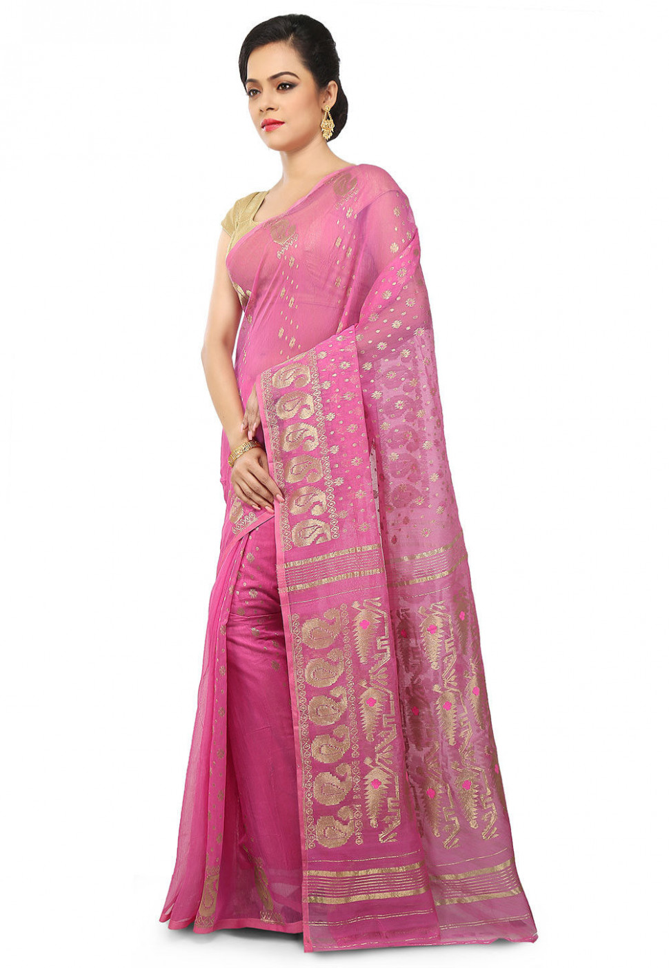 Dhakai Jamdani Cotton Silk Saree in Pink : SHXA172