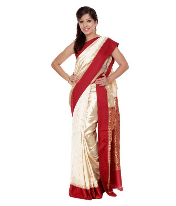 Dhakeshwari Red and White Garad Saree - Buy Dhakeshwari