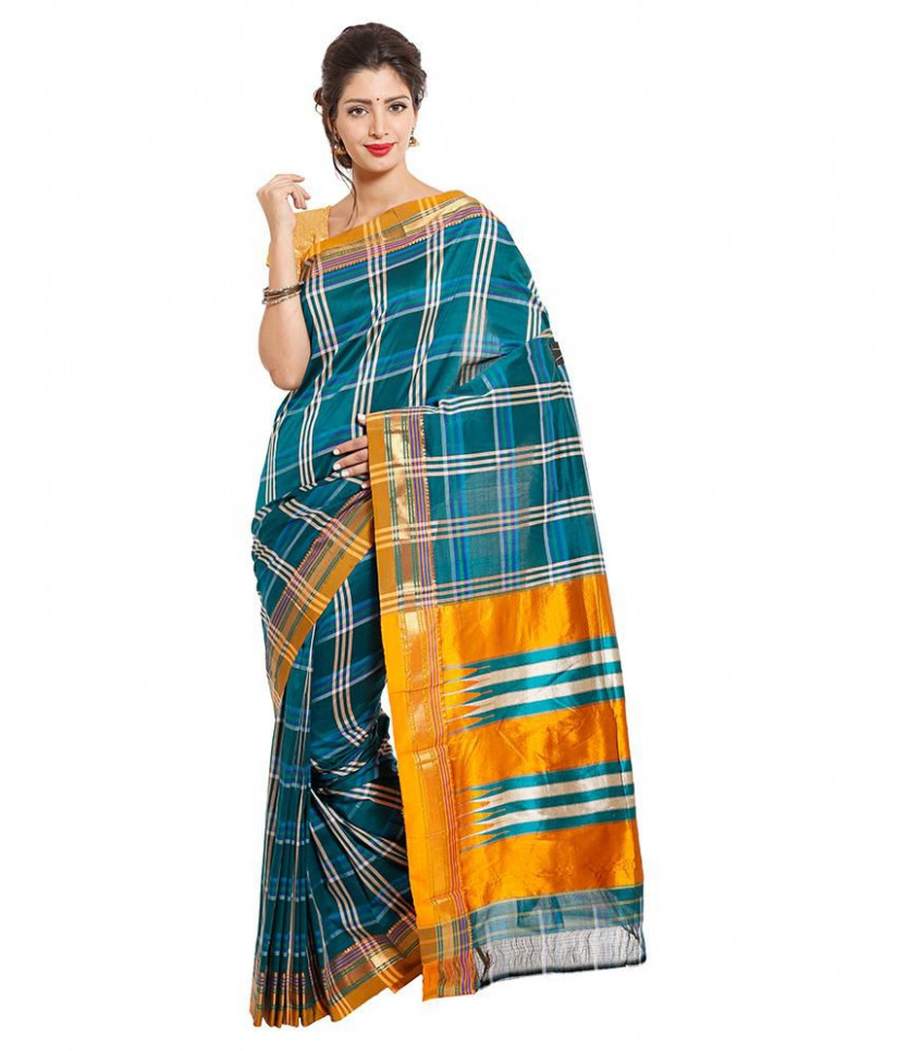 Dhammanagi Blue Silk Ilkal Saree available at SnapDeal for