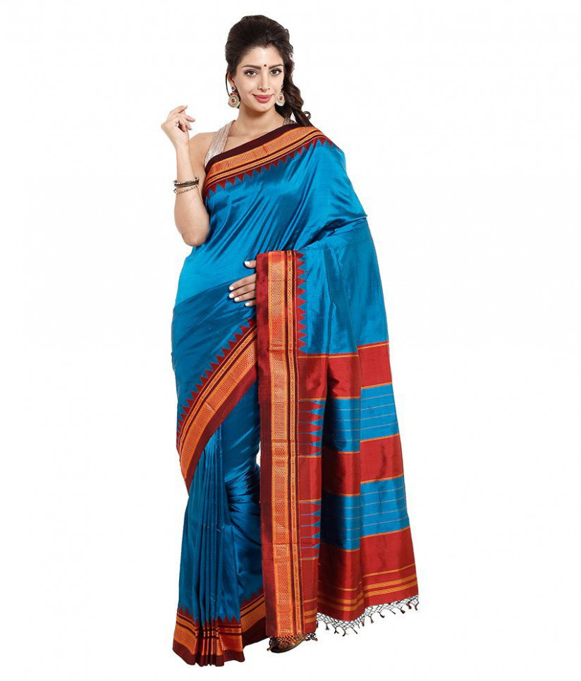 Dhammanagi Blue Silk Ilkal Saree - Buy Dhammanagi Blue
